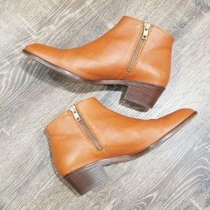 J.Crew brown leather side zip ankle booties 6.5